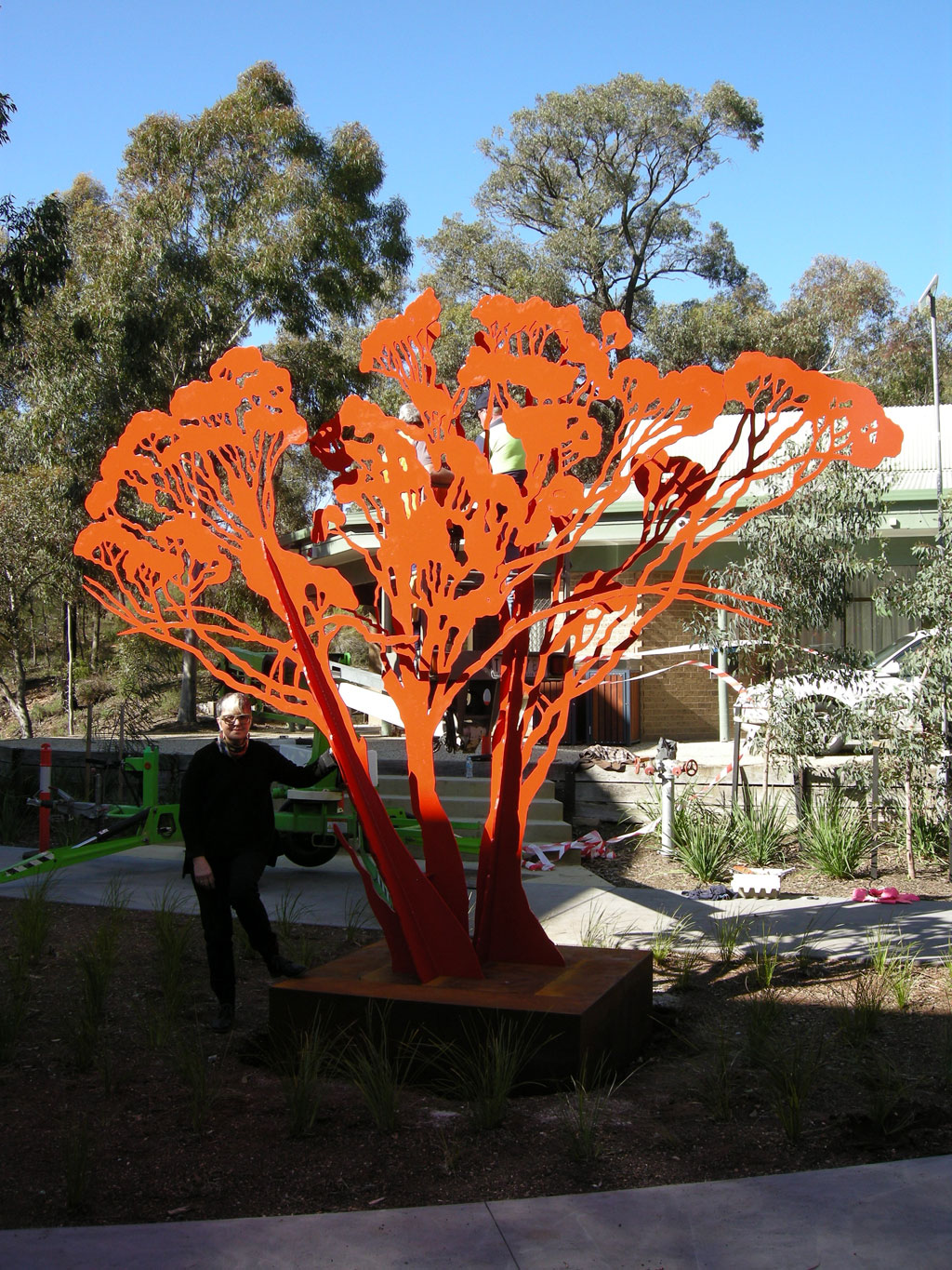 Red Mallee Commission, in-situ at Latrobe University, Melbourne, 3500 x 4000 mm, 12mm mild steel, 2 pack auto paint, 2012