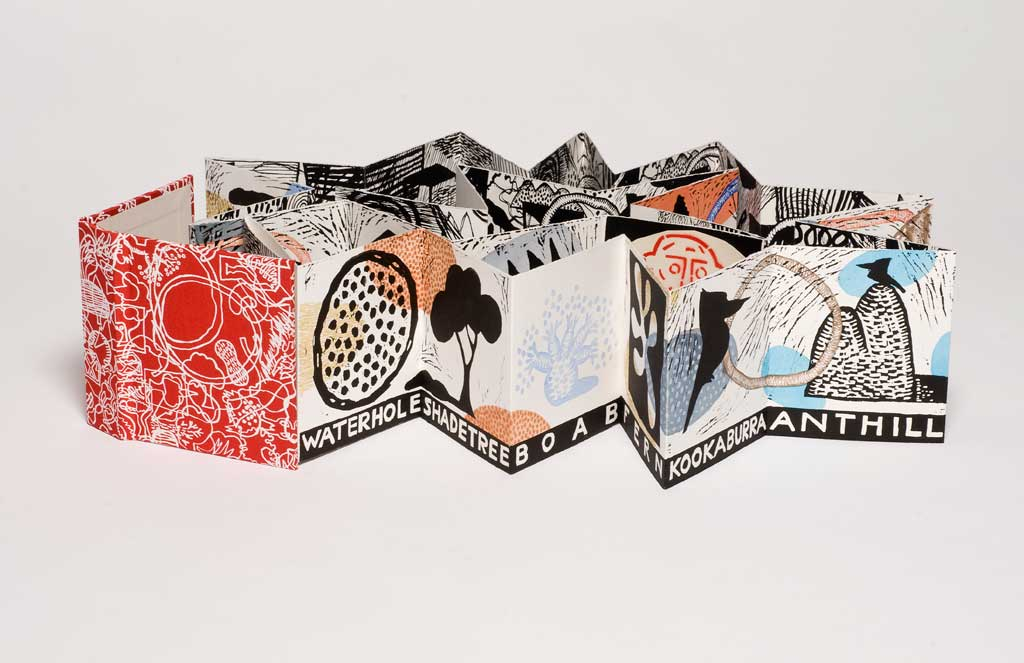 My Symbols - Artist Book, 150 x 150 x 3900 mm, watercolour, silkscreen, linocut and collage on paper, 2010