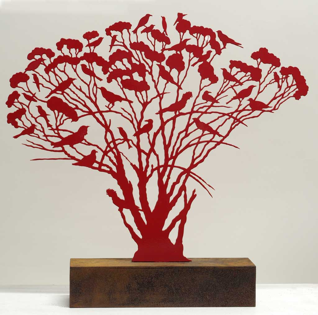 Red Mallee Tree with Birds, 860 x 900 x 160, 3mm steel, two-pack in rusted base, 2014