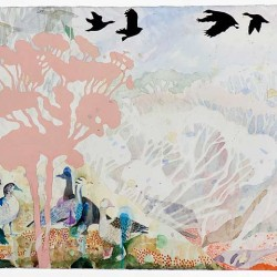 Snow Geese Over The Mallee, 330 X1000 Mm, Watercolour On Paper, 2013