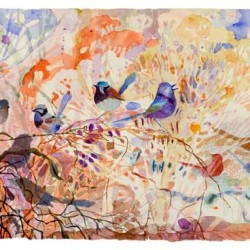 Wrens In The Bush, Watercolour On Paper, 280 X 830 Mm, 2014