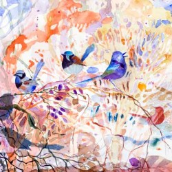 Wrens In The Bush (detail), 280 X 830 Mm, Watercolour On Paper, 2014