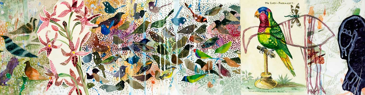 Emu, 240 x 920 mm, Watercolour/collage on paper, 2014