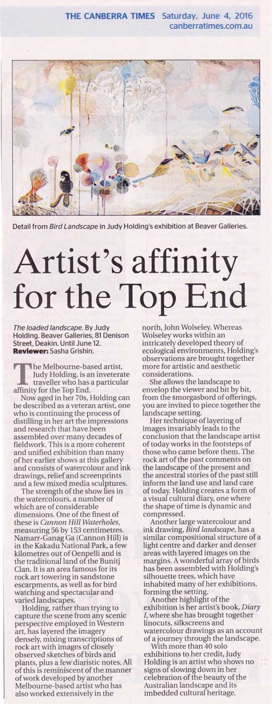 Review of Judy Holding's The Loaded Landscape in the Canberra Times